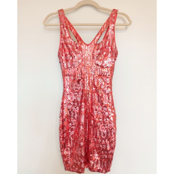 BCBG Dresses & Skirts - BCBG hot pink sequin mini dress